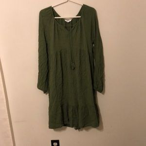 NWOT ARMY GREEN BOHO DRESS